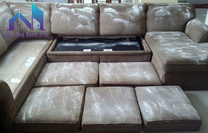 Cách làm sạch ghế sofa bằng baking soda đổ trực tiếp