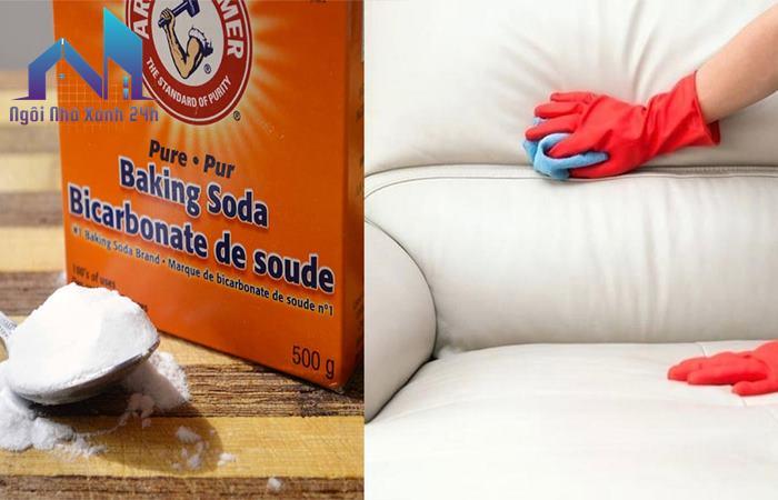 Làm sạch sofa da bằng baking soda pha loãng